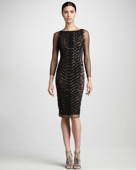 Snakeskin-Print Cocktail Dress