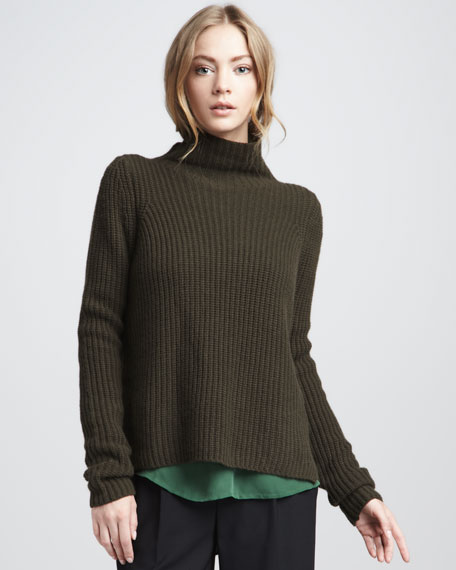 Ribbed Turtleneck, Seagrass