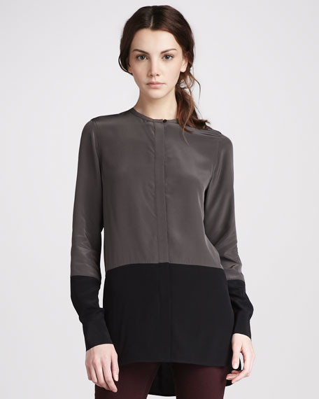 Silk Colorblock Blouse, Fatigue