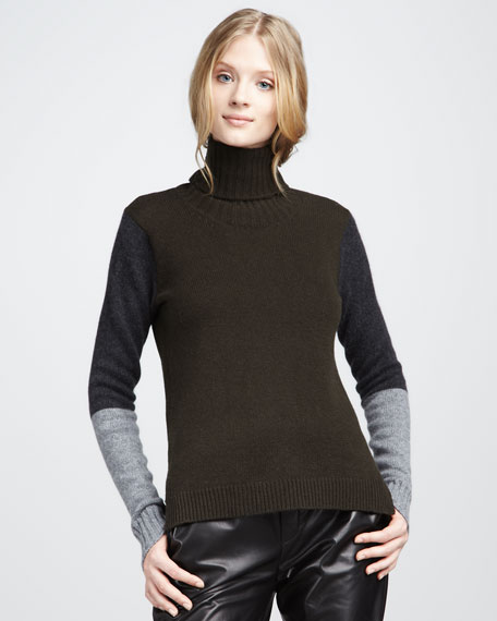 Colorblock Turtleneck, Black