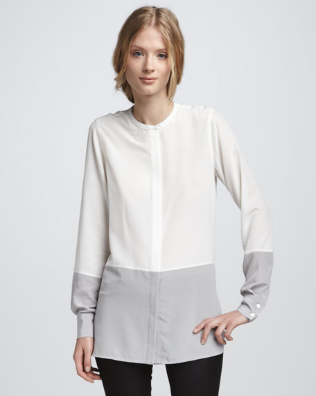 Silk Colorblock Blouse, White