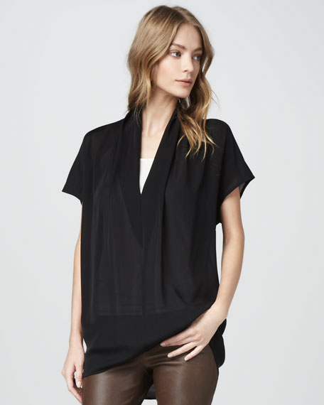 Draped Silk Top, Black