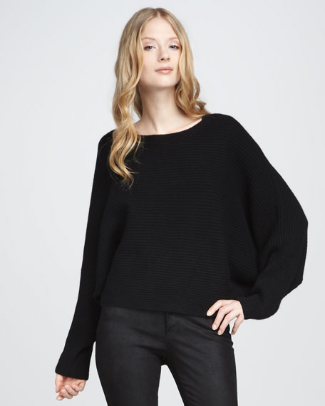 Ribbed Boat-Neck Sweater, Black