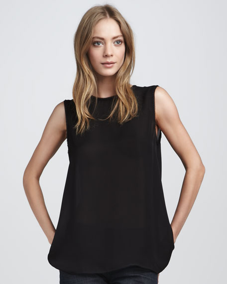 Bead-Trim Silk Top, Black