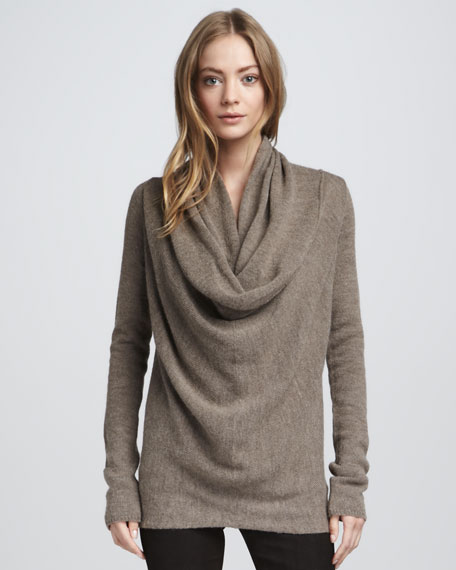 Draped Knit Sweater, Hazelnut