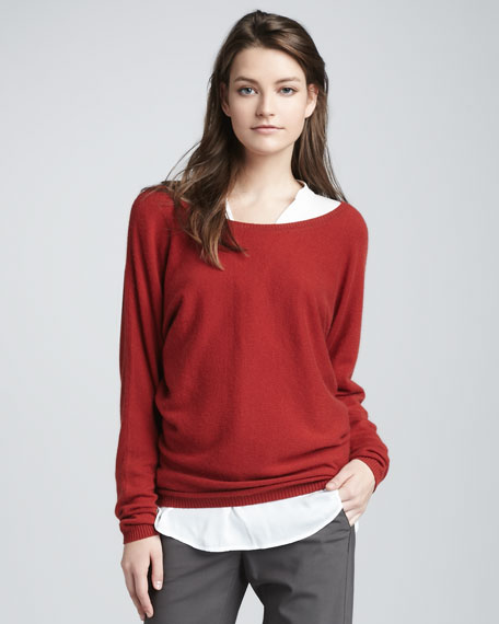 V-Back Cashmere Sweater, Crimson