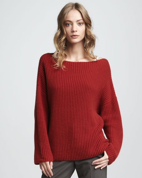 Chunky Boat-Neck Sweater, Crimson