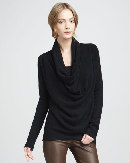 Draped Knit Sweater, Black