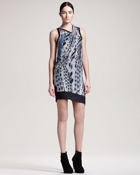 Asymmetric Pheasant-Print Dress