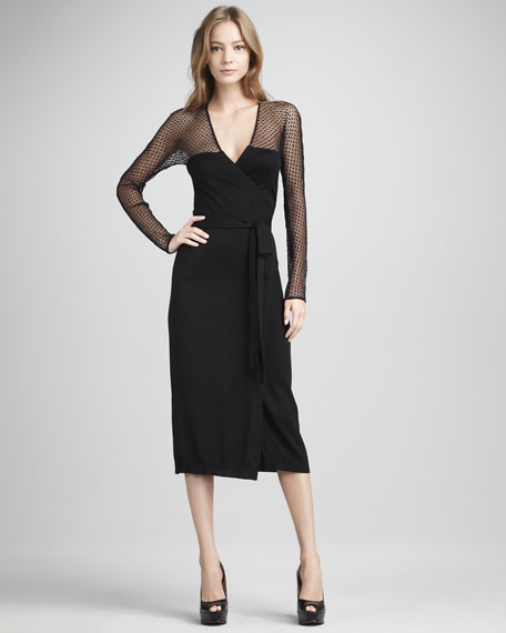 Zalda Lace-Yoke Wrap Dress