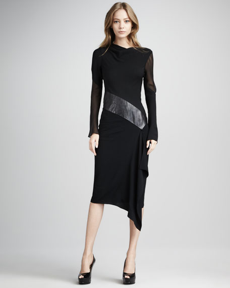 Sahib Mixed-Media Long-Sleeve Dress