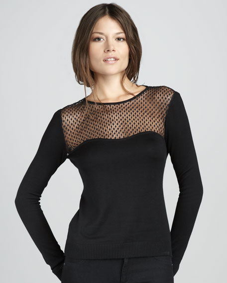 Rosita Lace-Yoke Long-Sleeve Top