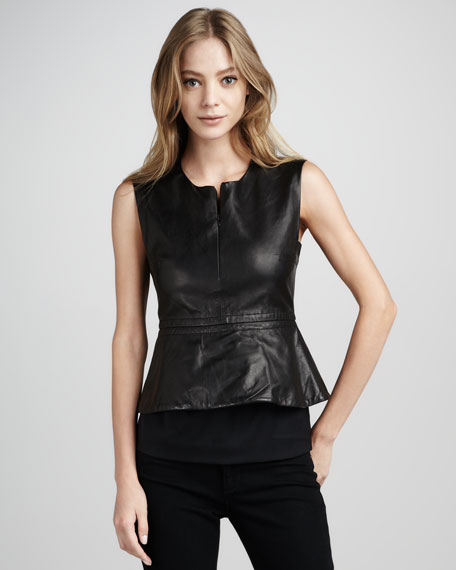 Delian Leather Peplum Top