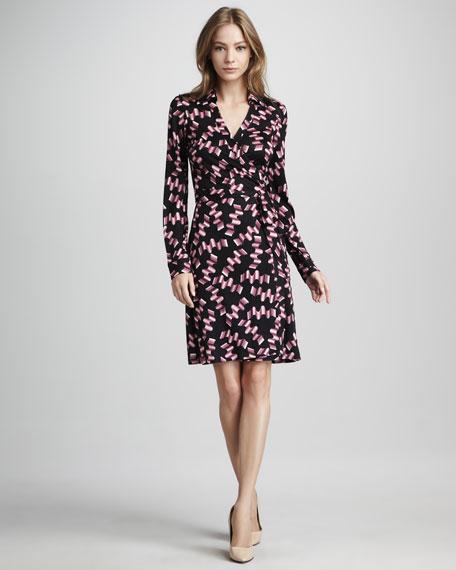 New Jeanne Wrap Dress, Icy Pink Wavy Print