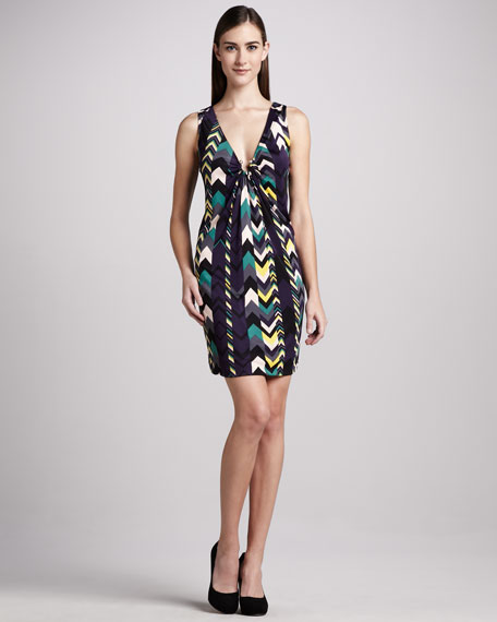 Zigzag-Print Jersey Dress
