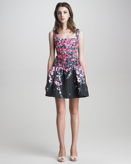 Square-Neck Drop-Waist Floral Dress