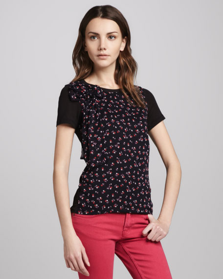 Cherry-Print Bow-Neck Top