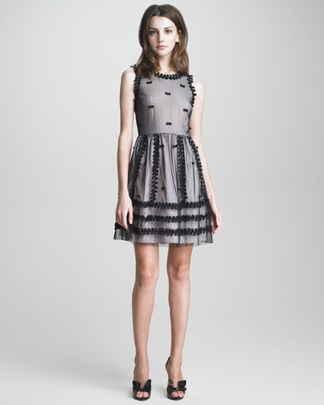Bow-Trimmed Point d'Esprit Dress