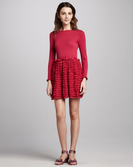 Long-Sleeve Ruffle-Skirt Dress, Fuchsia