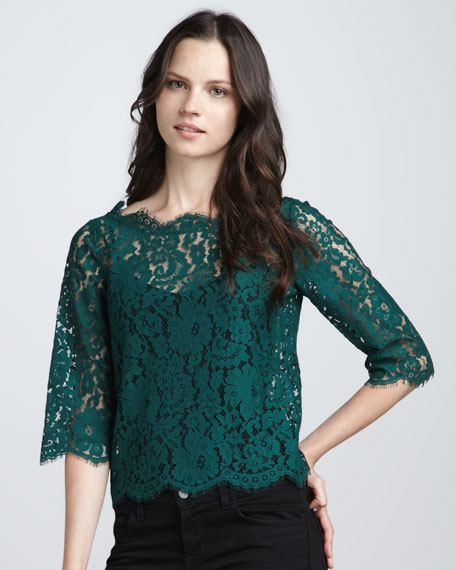 Elvia Button-Back Lace Top