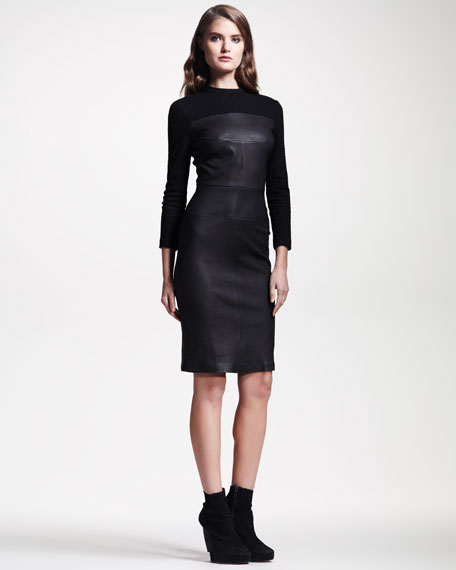 Booth Leather Sheath Dress