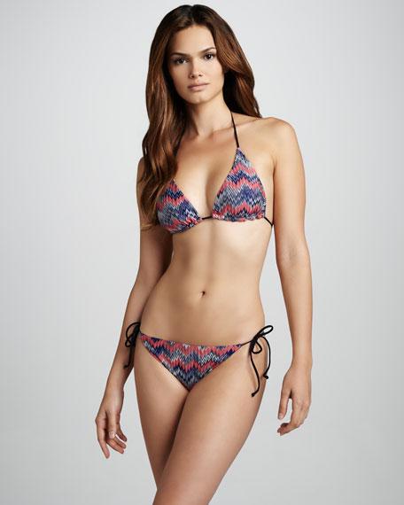 Snake-Print Zigzag String Bikini, Pink/Navy