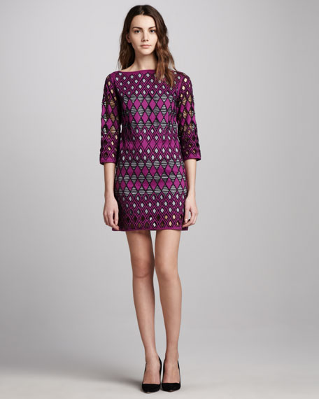 Cutout Shift Dress, Mulberry