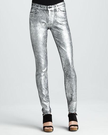 Skinny Silver Metallic Jacquard Skinny Jeans