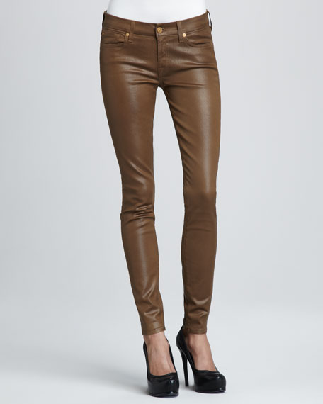 Skinny High-Shine Gummy Jeans, Sepia