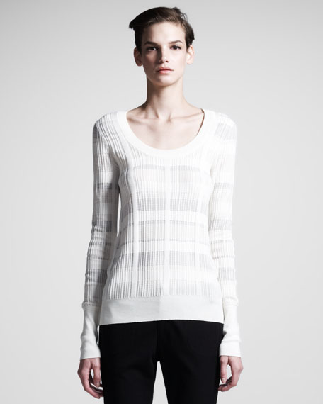 Rib-Trim Scoop-Neck Sweater