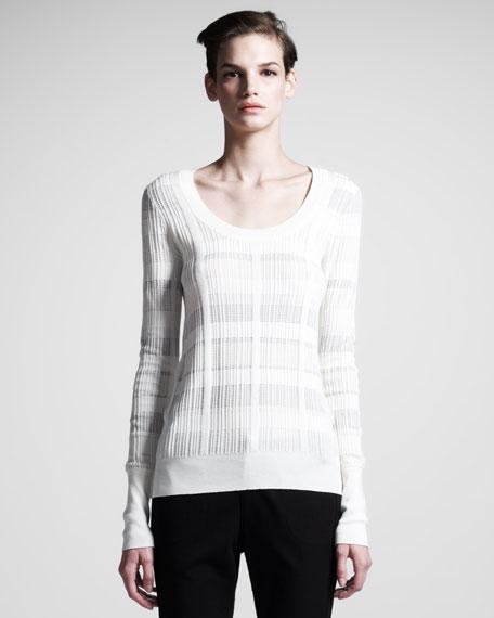 Rib-Trim Scoop-Neck Sweater