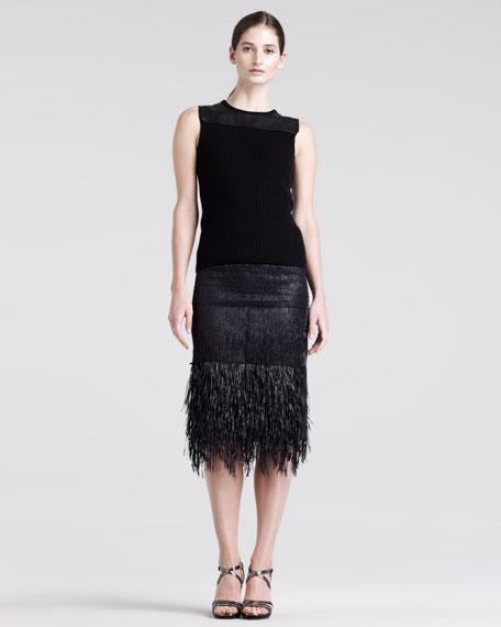 Mixed-Media Pencil Skirt