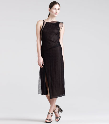 Modern Draped Lace Dress