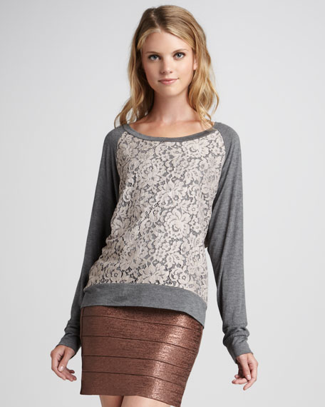 Lace-Front Slub Top