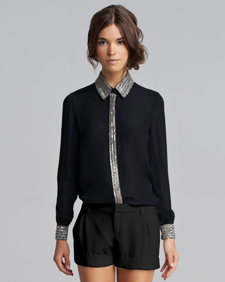 Bead-Trim Silk Blouse