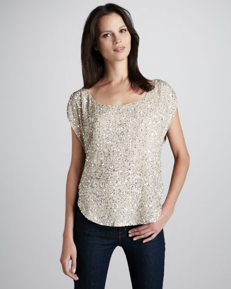 Short-Sleeve Sequined Top