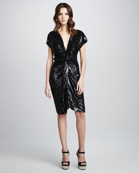 Draped Sequined Dress