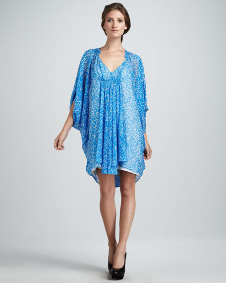 Fleurette Chiffon Dress, Fleck Blue