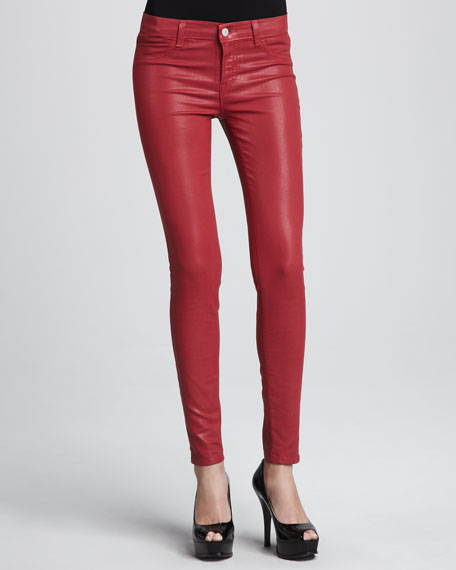 801 Coated Red Skinny Jeans
