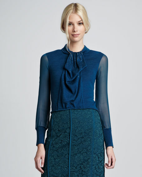 Abitha Knit/Silk Sweater
