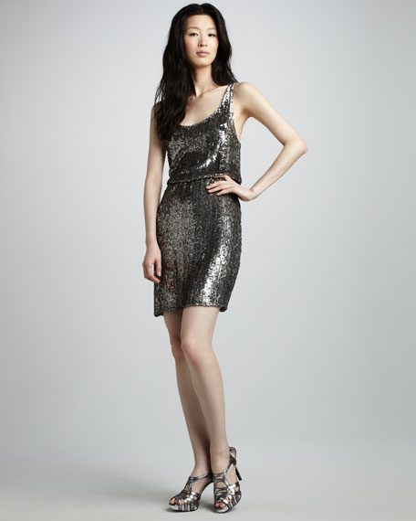Gabby Sequined Blouson Cocktail Dress