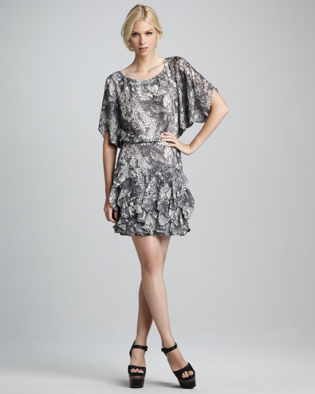 Adele Printed Dolman Dress