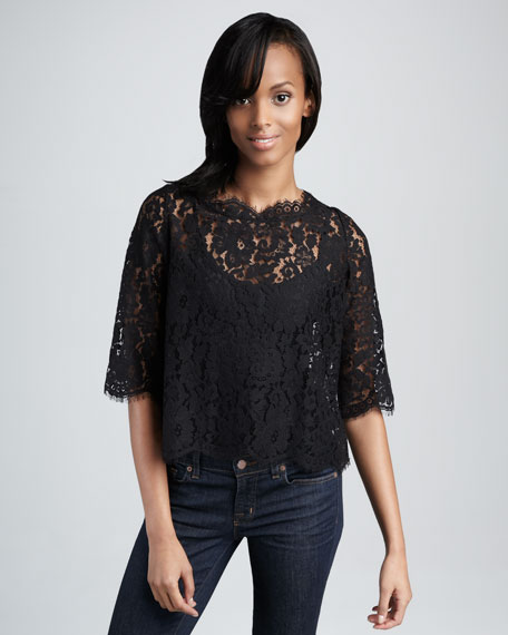 Elvia Back-Button Lace Top