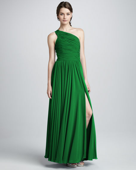One-Shoulder Gathered Gown, Emerald