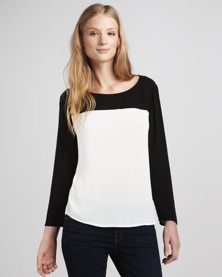 Alison Colorblock Silk Top