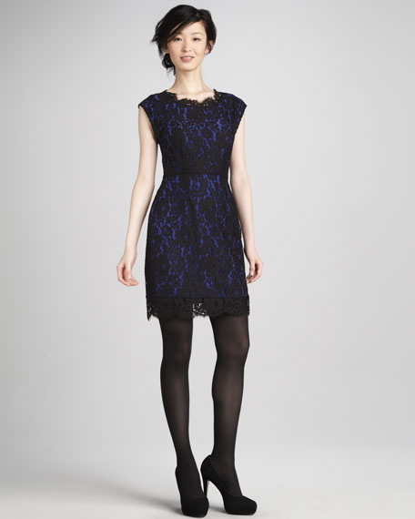 Maribeth Lace Cap-Sleeve Dress