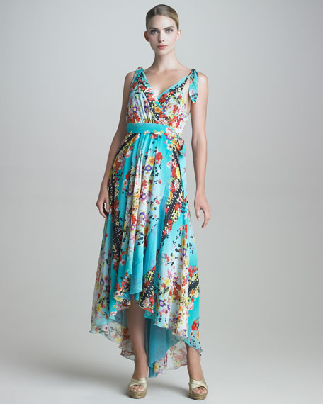 Silk Georgette Wrap Maxi Dress