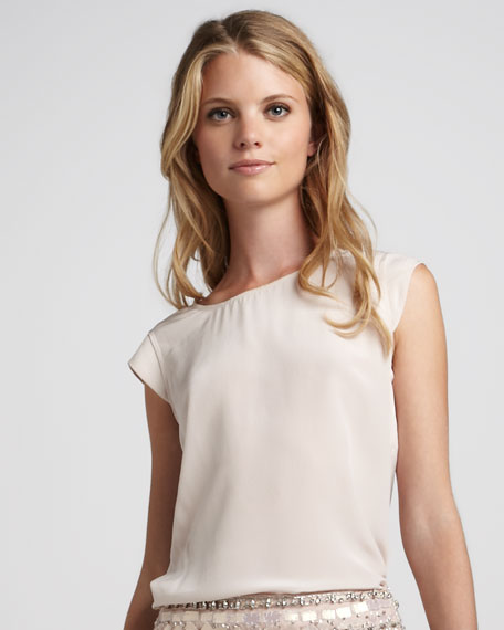 Cap-Sleeve Silk Top