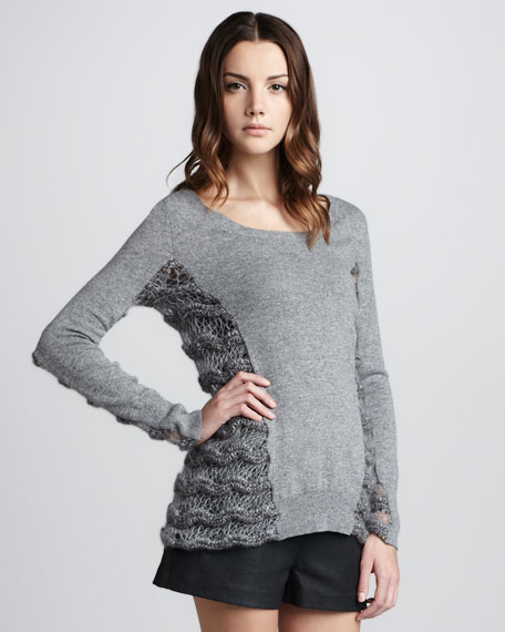 Chunky-Side Knit Pullover