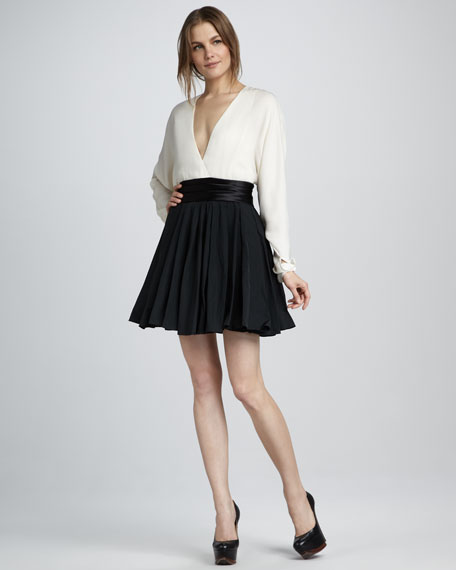 Flare-Skirt Combo Dress